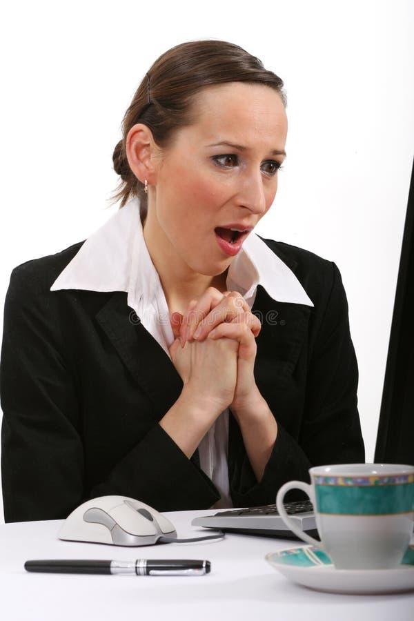 Angst aangejaagde bedrijfsvrouw stock afbeelding