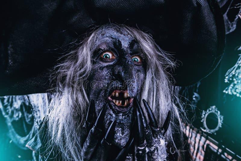 Angstaanjagende donkere heks stock afbeelding