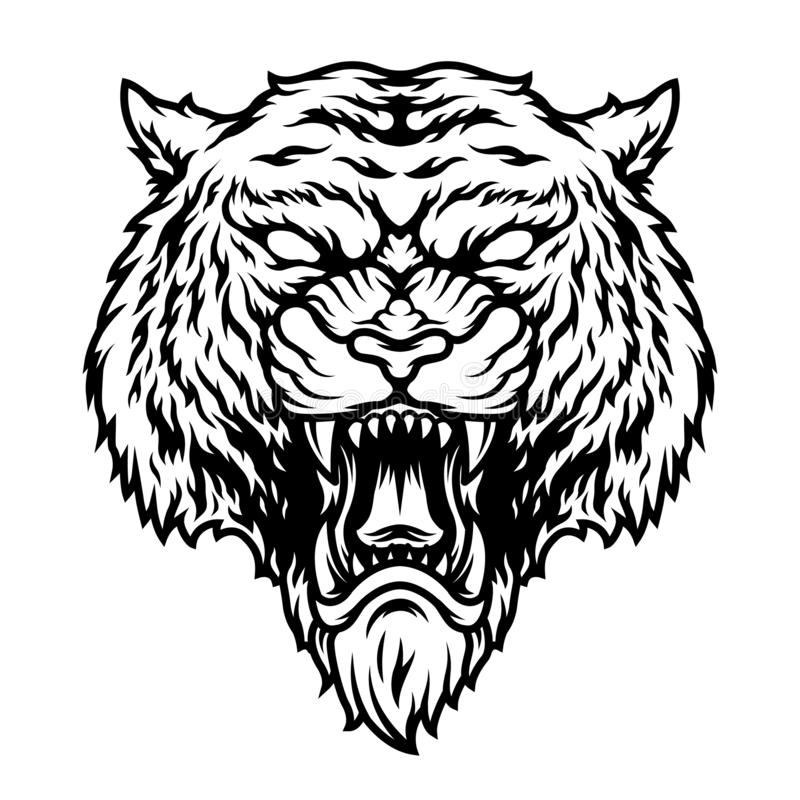 Angstig gevaarlijk tijgerconcept stock illustratie