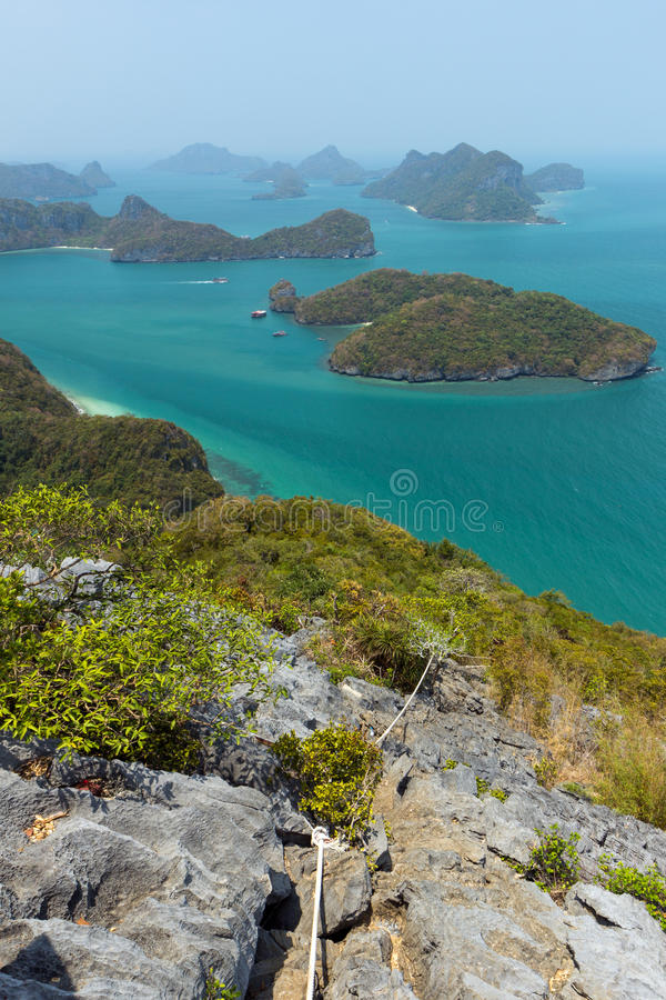 Angthong全国海岸公园的群岛在泰国 免版税库存图片