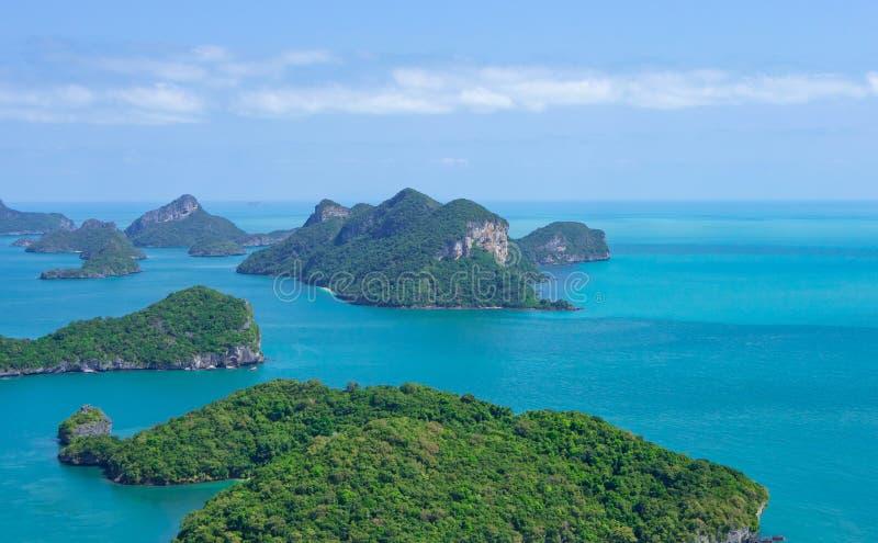 Angthong全国海岸公园,酸值苏梅岛,泰国俯视图  免版税库存照片