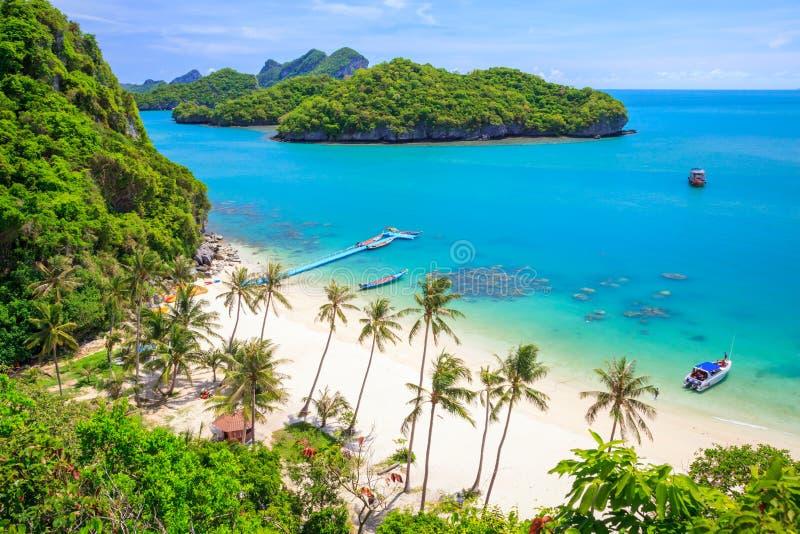 Angthong全国海岸公园,酸值苏梅岛, Thail俯视图  免版税库存照片