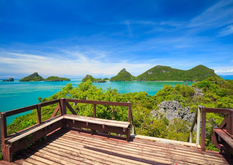 Angthong全国海岸公园,酸值苏梅岛, Thail俯视图  免版税库存图片