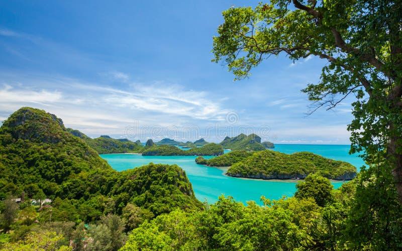 Angthong全国海岸公园,酸值苏梅岛, Thail俯视图  库存照片