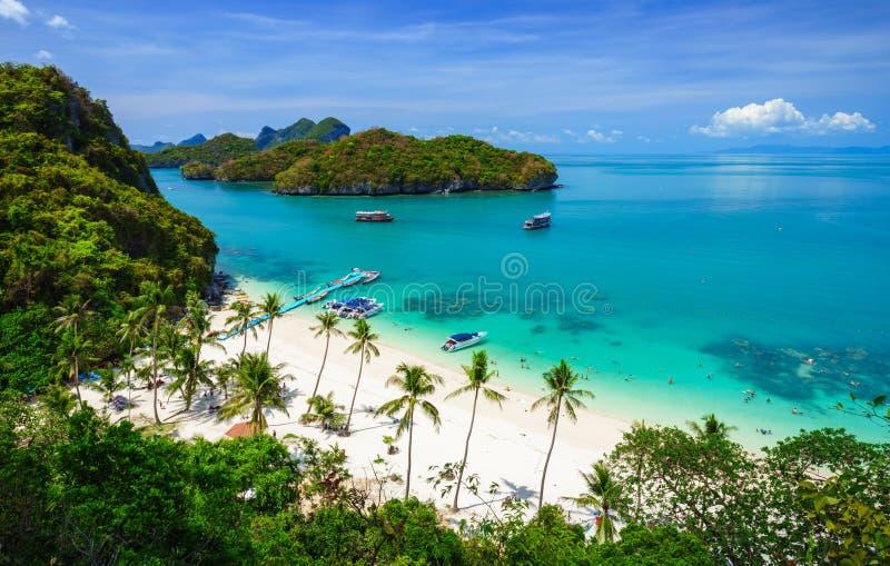 Angthong全国海岸公园,酸值苏梅岛, Thail俯视图  库存图片