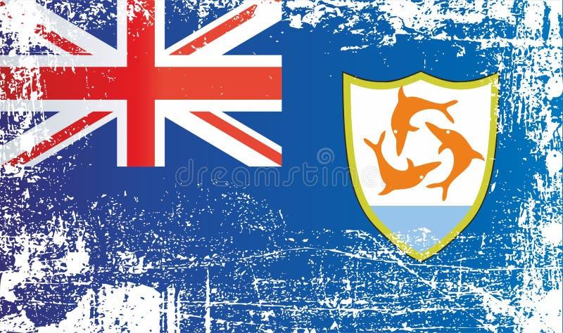 anguilla flagga Brittiskt utl?ndskt territorium Rynkiga smutsiga fläckar royaltyfri illustrationer