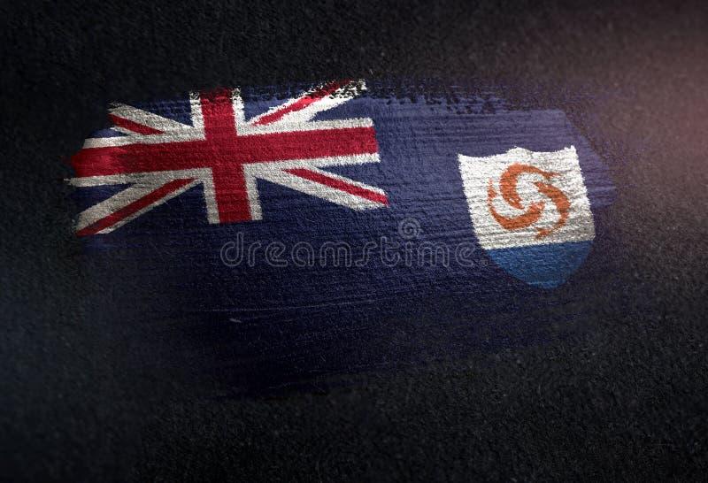 Anguilla flagga som göras av metallisk borstemålarfärg på Grungemörkerväggen arkivbilder