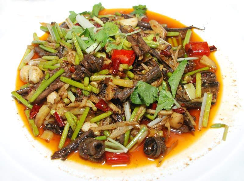 Anguilla fritta cucina cinese fotografia stock libera da diritti