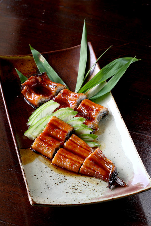 Anguilla giapponese dell'arrosto dell'alimento (unagi) immagini stock