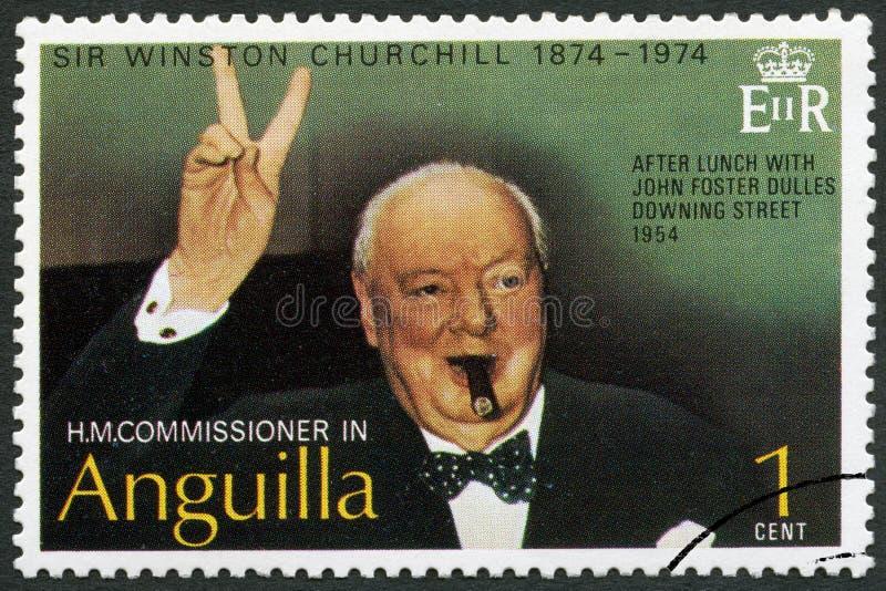 ANGUILLA - 1974: shower Sir Winston Spencer Churchill 1874-1965, Churchill som gör Victory Sign arkivfoto