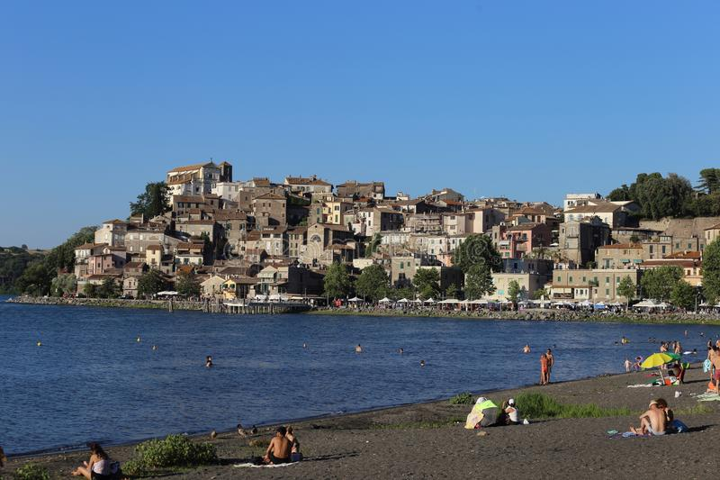Anguillara Sabazia in Italy on Bracciano Lake stock image