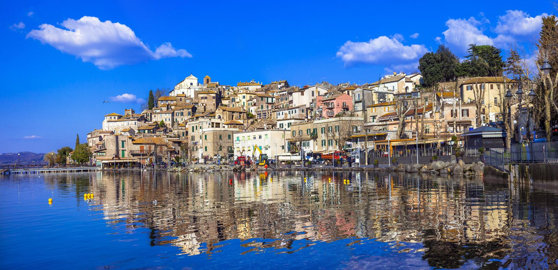 Anguillara Sabazia village. Anguillara Sabazia - pictorial village in lake, Italy, Lazio royalty free stock photos