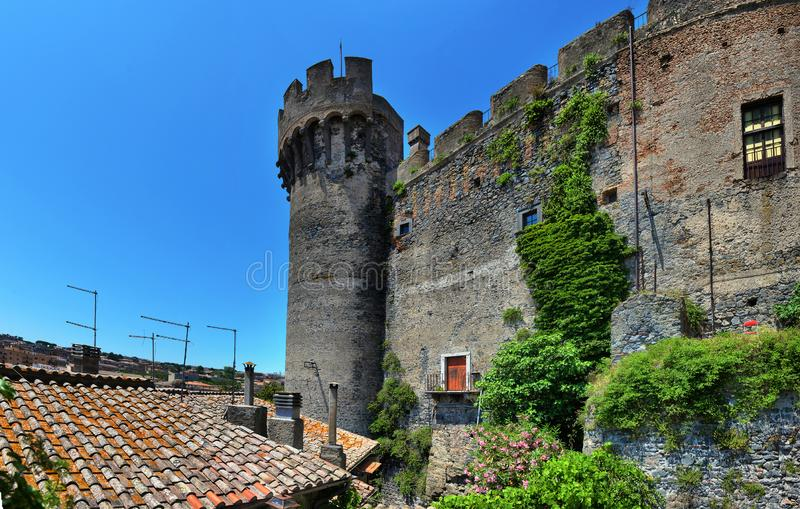 Anguillara is a small medieval town overlooking Bracciano Lake, Italy, Anguillara. Italy, Anguillara Sabazia - yune 26 2019: Anguillara is a small medieval town royalty free stock photos