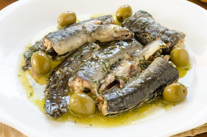 Anguille con salsa verde oliva fotografia stock libera da diritti