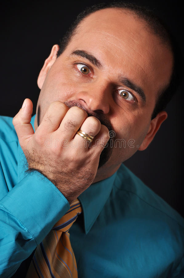 Anguish. This picture represents a anguish man stock photography