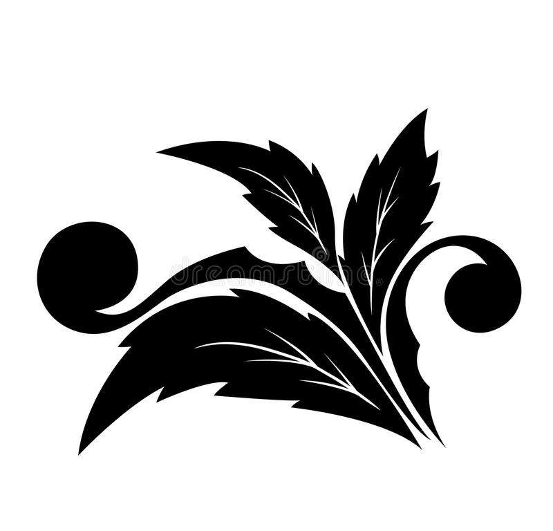 Angular decorative flower pattern with petals. Background with the image it is black a white angular, classical pattern vector illustration
