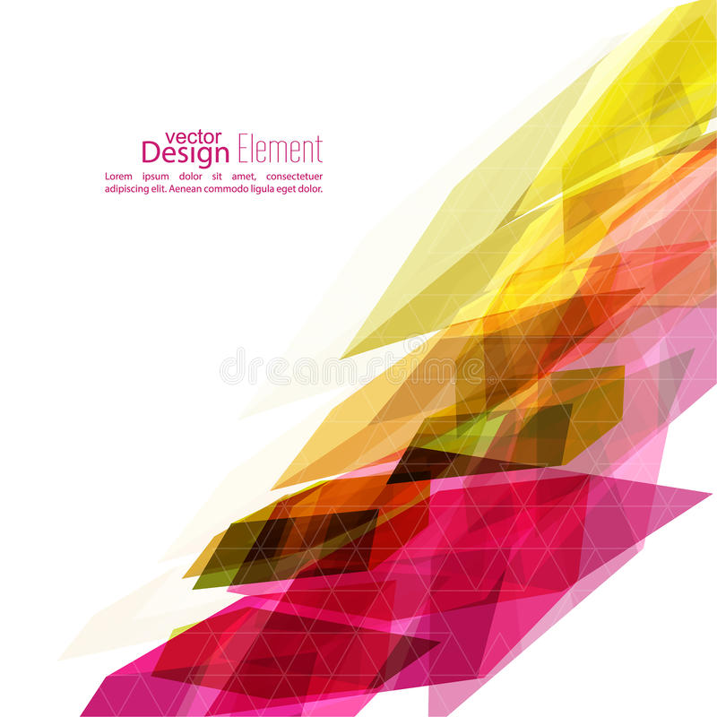 Angular geometric color shape. Abstract background with colored crystals, trellis structure. For book, leaflet, cd cover design, postcard, business card vector illustration