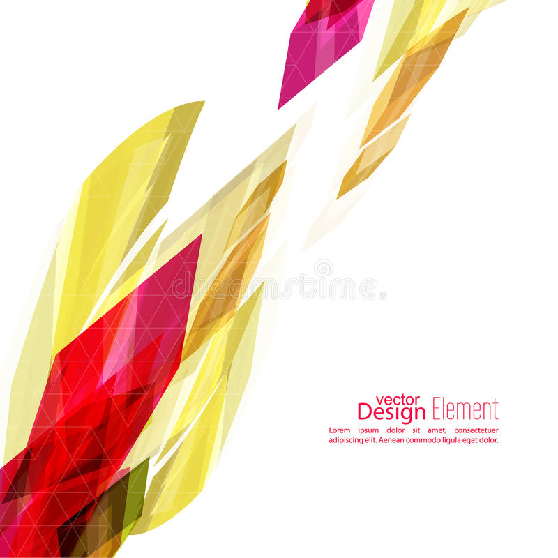 Angular geometric color shape. Abstract background with colored crystals, trellis structure. For book, leaflet, cd cover design, postcard, business card royalty free illustration