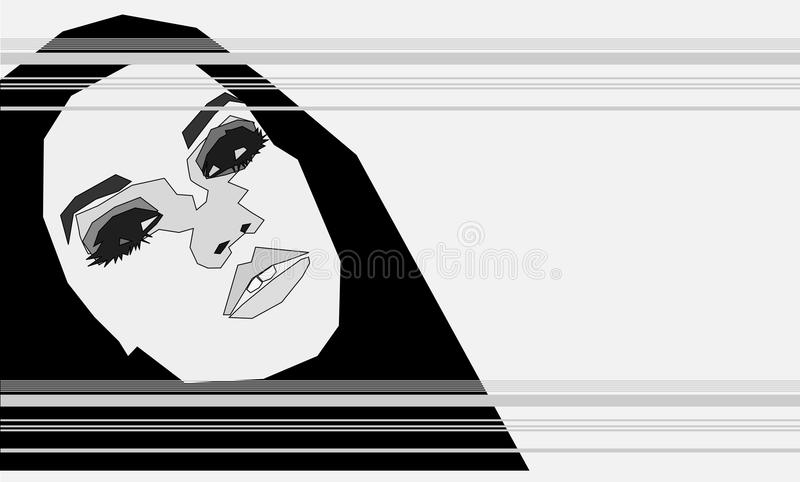 Angular Grey Girl. A Grey Angular Girl in an Abstract Style Could be Wearing a Burka stock illustration