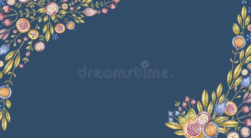 Angular watercolour flower composition on blue. Angular watercolour flower composition isolated on blue background. Aquarelle floral bouquet, hand drawn. Hand vector illustration