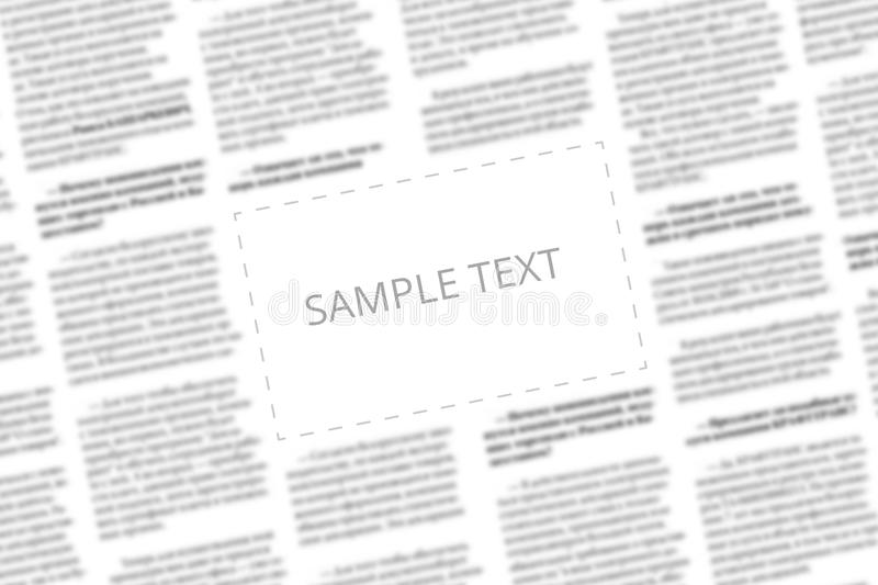 Angularly shot black and white newspaper with copy space in the middle. Written words Sample Text in the blank square on the. Blurred tabloid page background stock photo