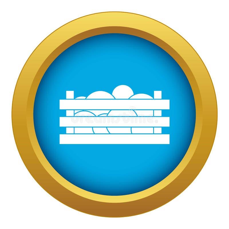 Angurie nel vettore blu dell'icona della cassa di legno isolate illustrazione di stock