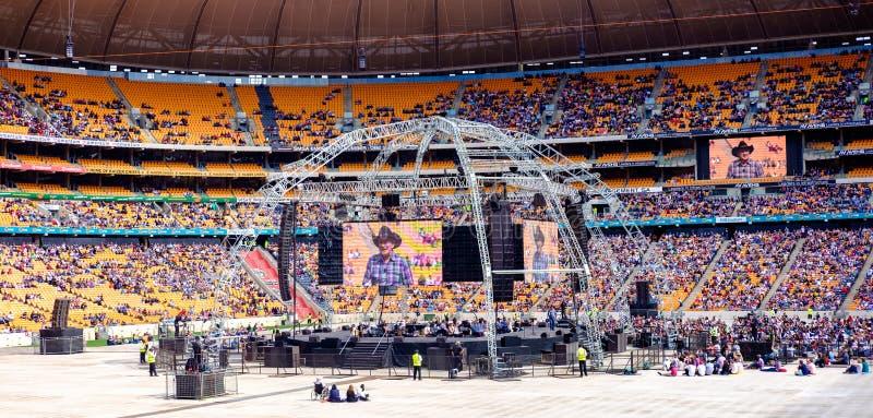Angus Buchan - Heilige Assemblage 2016 bij FNB Stadium stock afbeelding