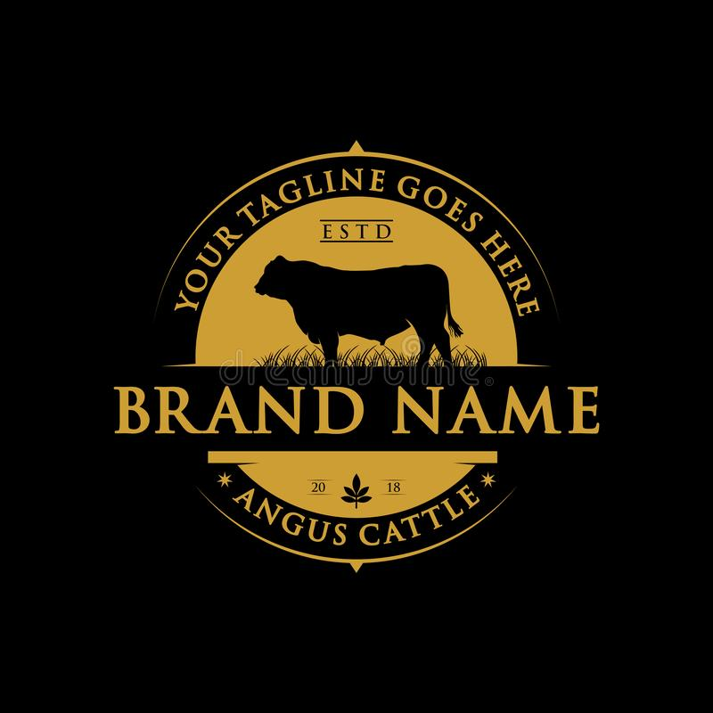 Angus cattle farm label design vector illustration