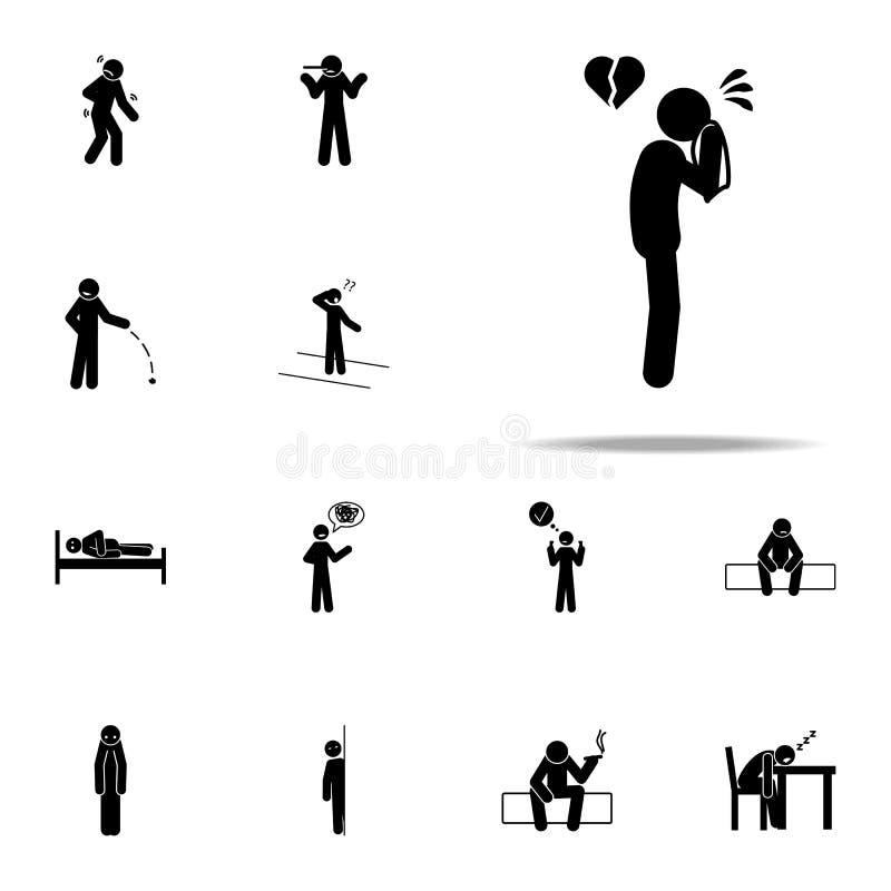 angustia, icono del hombre Sistema universal de los iconos negativos del carácter para la web y el móvil libre illustration