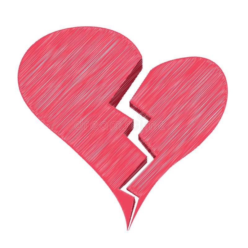Angustia roja o corazón quebrado o divorcio aislado en un fondo blanco Ejemplo del estilo del bosquejo del vector ilustración del vector