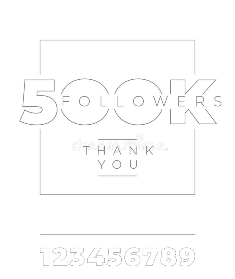 anhängare 500K, tacka dig Minimalist typografi på vit isolerad bakgrund Vektormall för sociala massmediabaner royaltyfri illustrationer