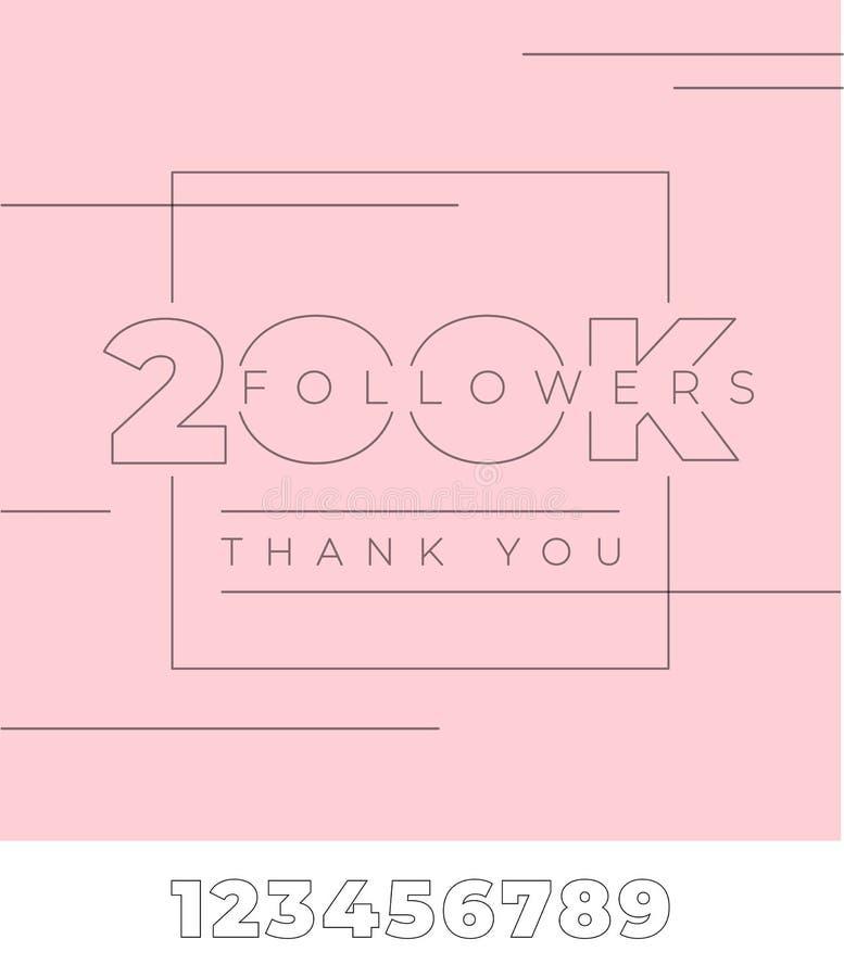 anhängare 200K, tacka dig Typografi på rosa färger isolerad bakgrund Redigerbar mall med alla nummer för socialt massmedia royaltyfri illustrationer