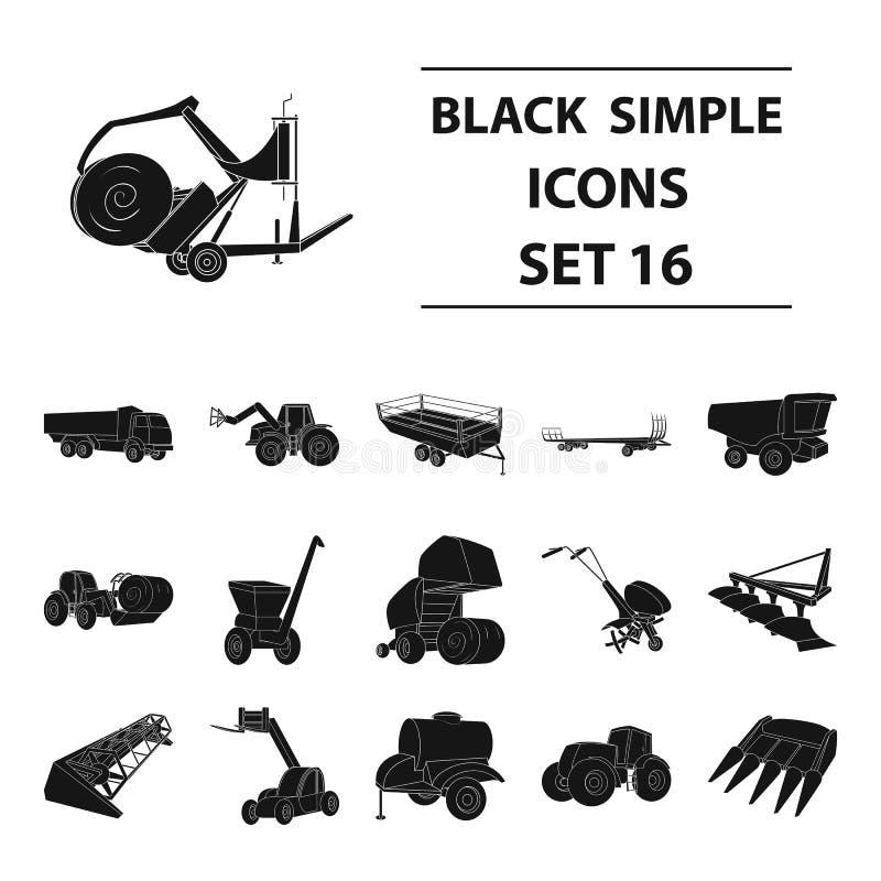 Anhänger, Kipper, Traktor, Lader und andere Ausrüstung Gesetzte Sammlungsikonen der landwirtschaftlichen Maschinerie im schwarzen lizenzfreie abbildung