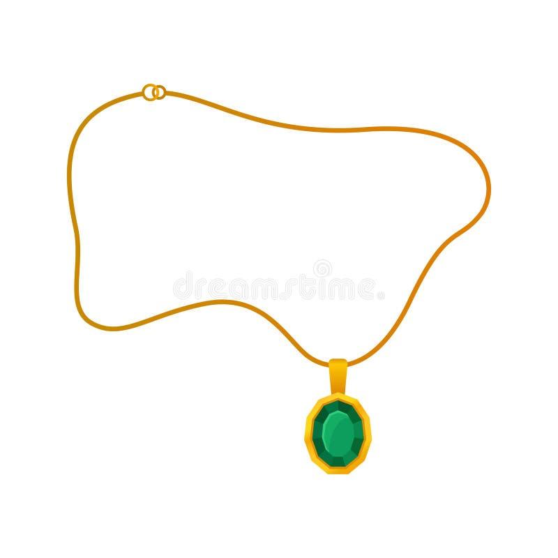 Anhänger mit Smaragd auf einer Goldkette Auch im corel abgehobenen Betrag stock abbildung