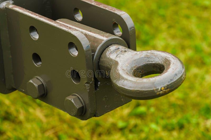 Anhängerkupplung in der landwirtschaftlichen Maschine stockfoto
