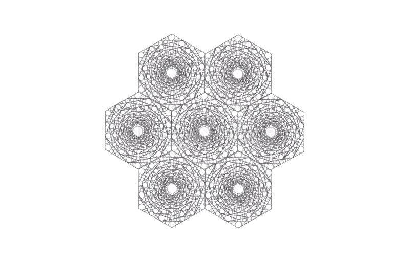 Anhäufung von den Hexagonen gemacht von den kleineren Hexagonen stockfotos