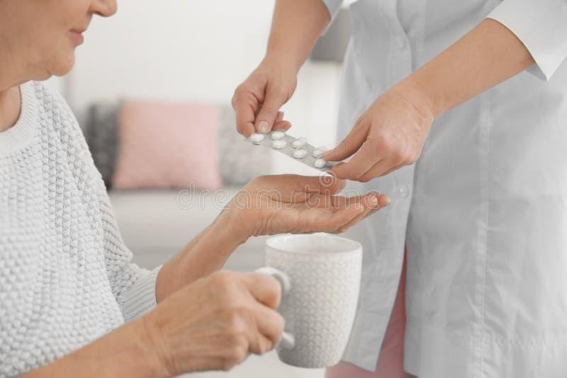 Anhörigvårdare som hemma ger medicin till den höga kvinnan royaltyfri bild