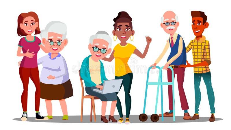 Anhörigvårdare volontärer, morföräldrar, tecken för Grandkidsvektortecknad film royaltyfri illustrationer