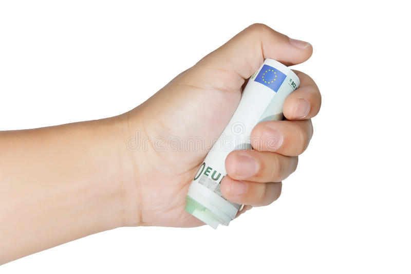 Anhalten einer Rolle von 100 Euroanmerkungen lizenzfreie stockfotografie