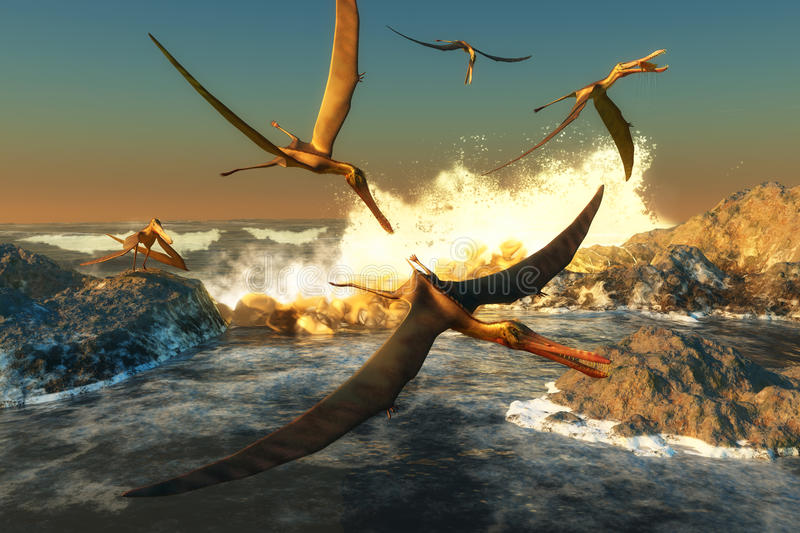 Anhanguera Fishing. A flock of Anhanguera flying dinosaur reptiles catch fish off a rocky coast in prehistoric times