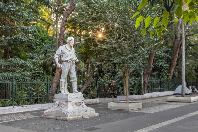 Anhanguera Statue in front of Trianon Park at Paulista Avenue - Sao Paulo, Brazil. Anhanguera Statue Bartolomeu Bueno da Silva in front of Trianon Park at royalty free stock photo