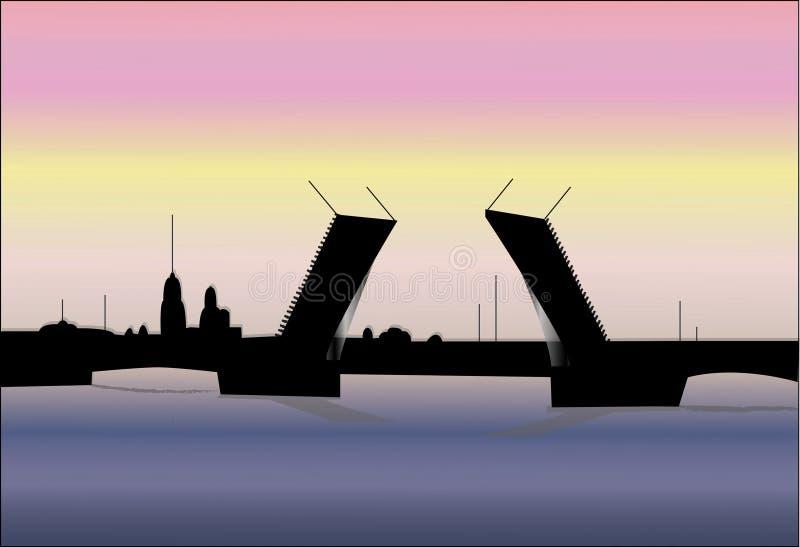 Anheben der Brücke von Petersburg vektor abbildung