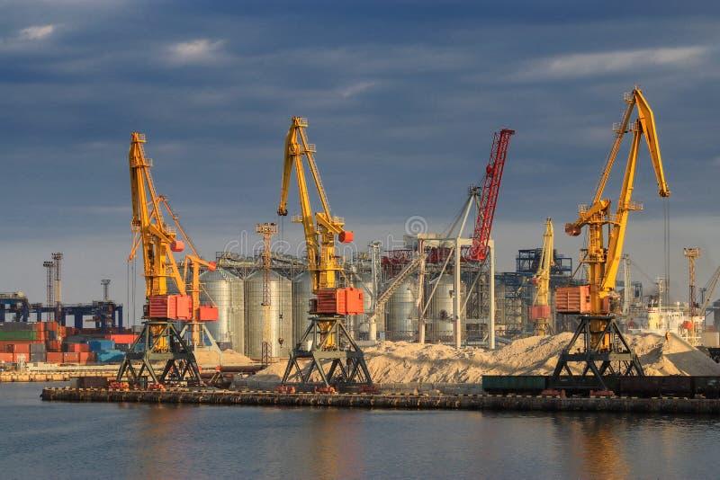 Anhebende Frachtkräne, Schiffe und Korntrockner im Seehafen lizenzfreies stockfoto