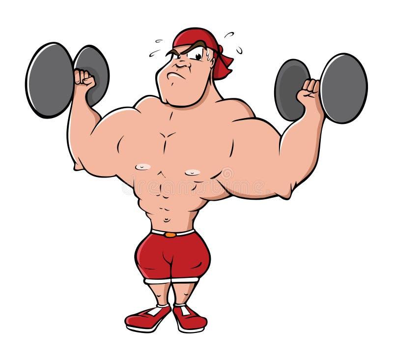 Anhebende Gewichte des Bodybuilders lizenzfreie abbildung