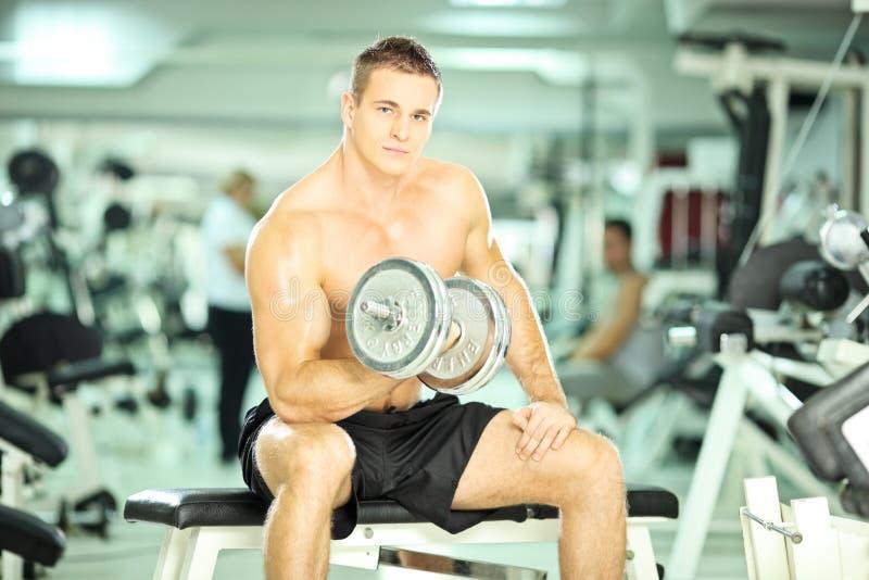 Anhebende Gewichte des muskulösen Kerls in einer Turnhalle stockfotos