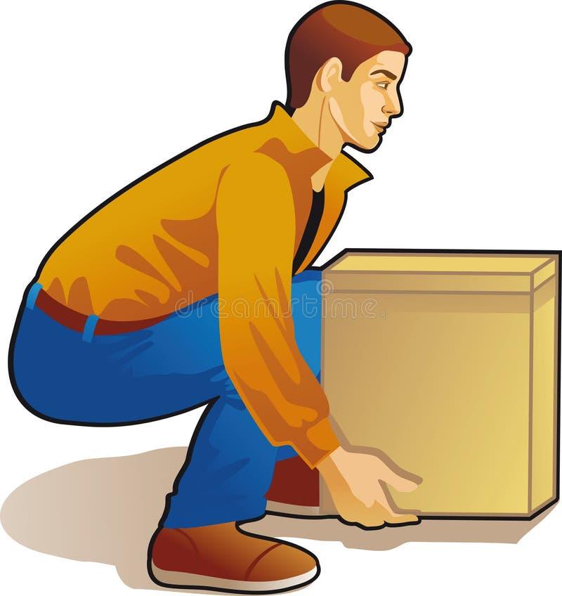 Anhebender Kasten des jungen Mannes, farbige Zeichnung lizenzfreie abbildung