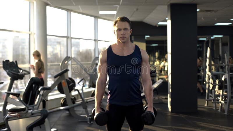 Anhebendes Gewicht des männlichen Bodybuilders, Dummkopflocken tuend, Morgengymnastik in der Turnhalle lizenzfreies stockbild