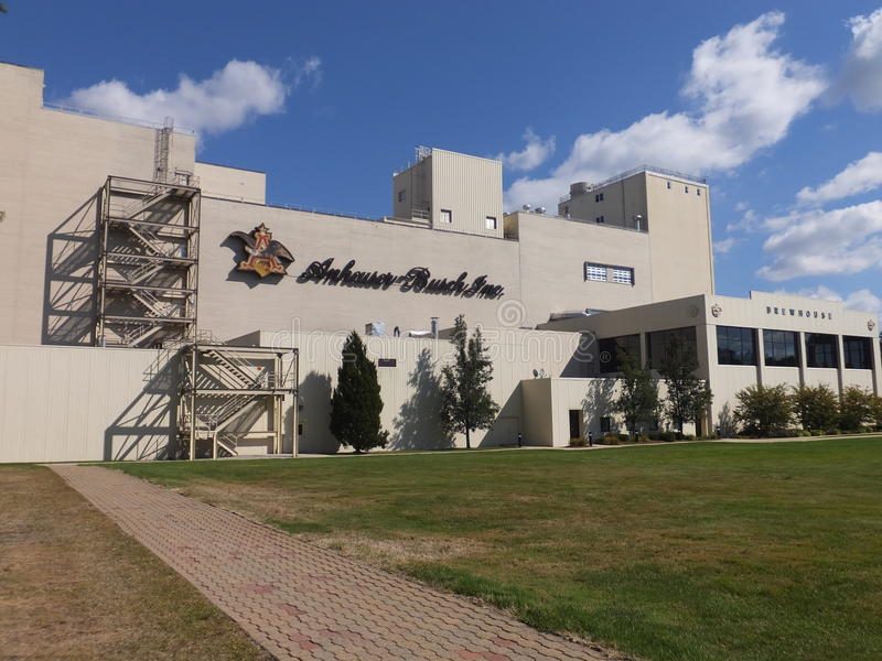 Anheuser-Busch brewery in Merrimack, New Hampshire. Is their easternmost, and one of their smallest plants in the United States. It is home to a brewery tour stock image