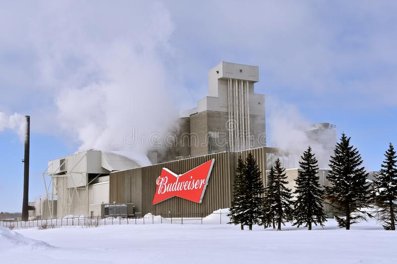 Anheuser-Busch Malting plant with a Budweiser Logo sign stock photography