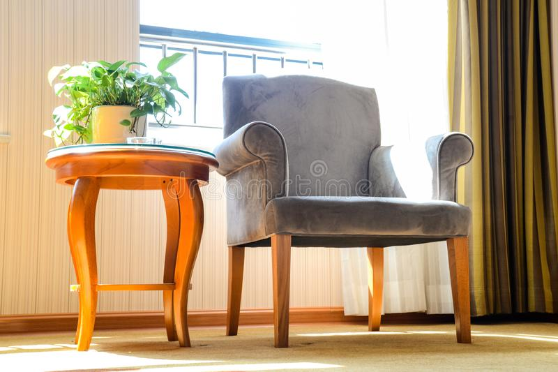 Anhui bengbu ,The hotel where I was staying. The first day of the National Day tour. The sun is just right,the chair is just right stock photos